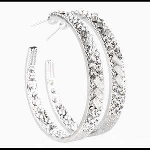 Glitzy Glamorous Silver Hoop Earrings